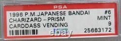 1996 Pokemon Japanese Bandai #6 Charizard Red Prism Carddass Vending Psa 9