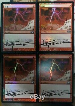 Lightning Bolt JAPANESE FOIL Artist Signed PLAYSET Burn Red x1 Mtg Magic #B931
