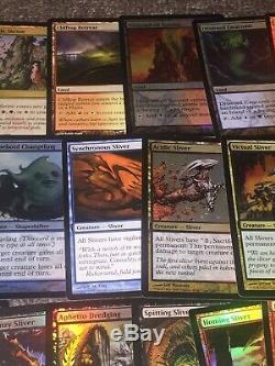 MTG Magic ALL FOIL SLIVER EDH DECK Commander FOIL Rares and Mythics Lands