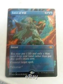 MTG Magic FOIL Force of Will Extended Art Borderless Double Masters NM-M