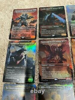 Mtg Complete Foil 20 Card Set Of Ikoria Godzilla Cards & New Secret Lair Lands