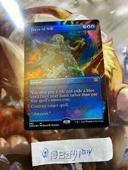 X1 FOIL FORCE OF WILL 340 (BORDERLESS) DOUBLE MASTERS Magic CARD MTG